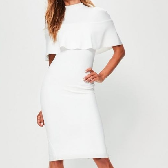 19b45d5a Missguided Dresses | White Frill Overlay Shoulder Midi Dress Cape ...